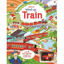 Wind-up train book with slot-together tracks